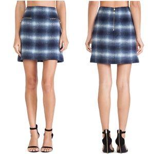KATE SPADE Plaid Wool Blend Zip Pocket Mini Skirt